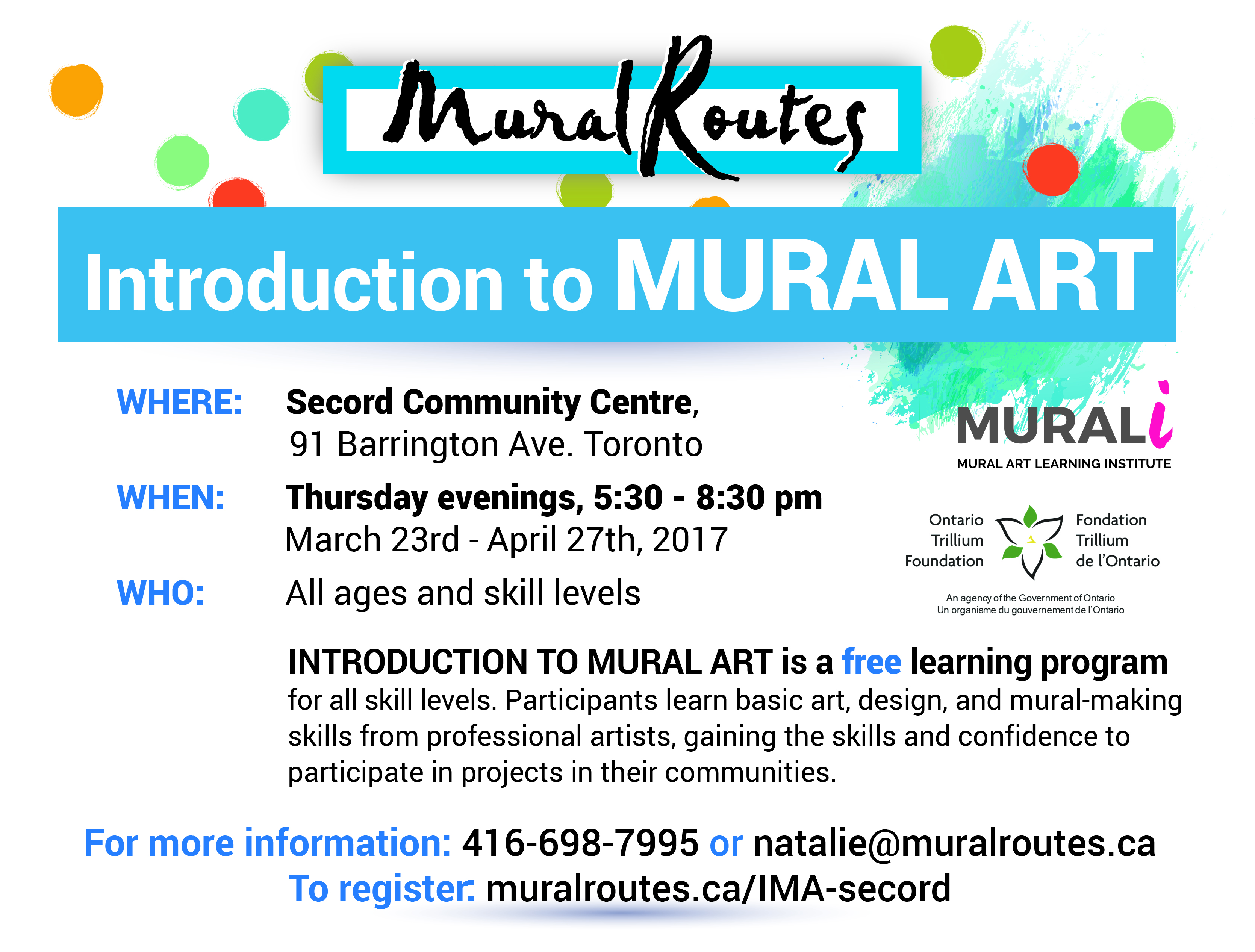 Registration Open- Intro to Mural Art in East Toronto - Mural Routes